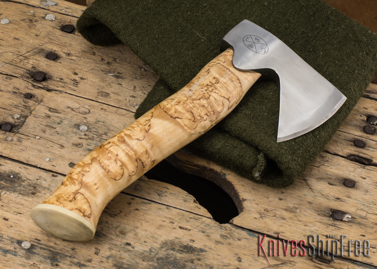 "Karesuando Kniven: ""Unna Aksu"" Hunter's Hatchet - Curly Birch - Stainless Steel - 114"