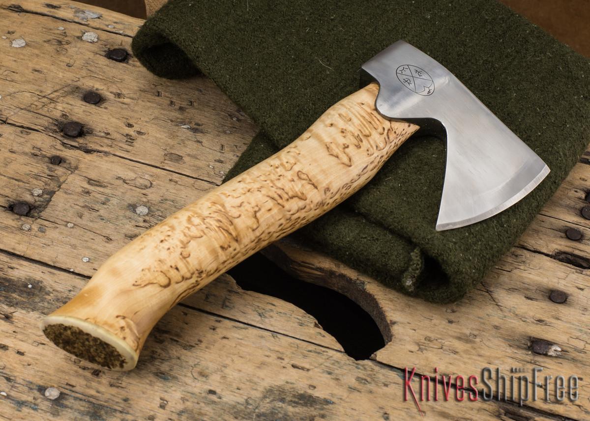 "Karesuando Kniven: ""Unna Aksu"" Hunter's Hatchet - Curly Birch - Stainless Steel - 115 primary image"