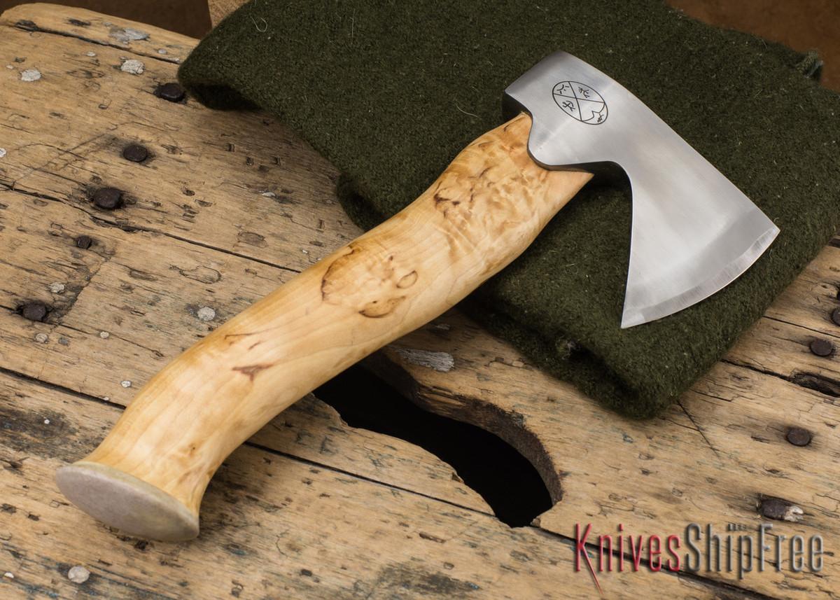 "Karesuando Kniven: ""Unna Aksu"" Hunter's Hatchet - Curly Birch - Stainless Steel - 116 primary image"