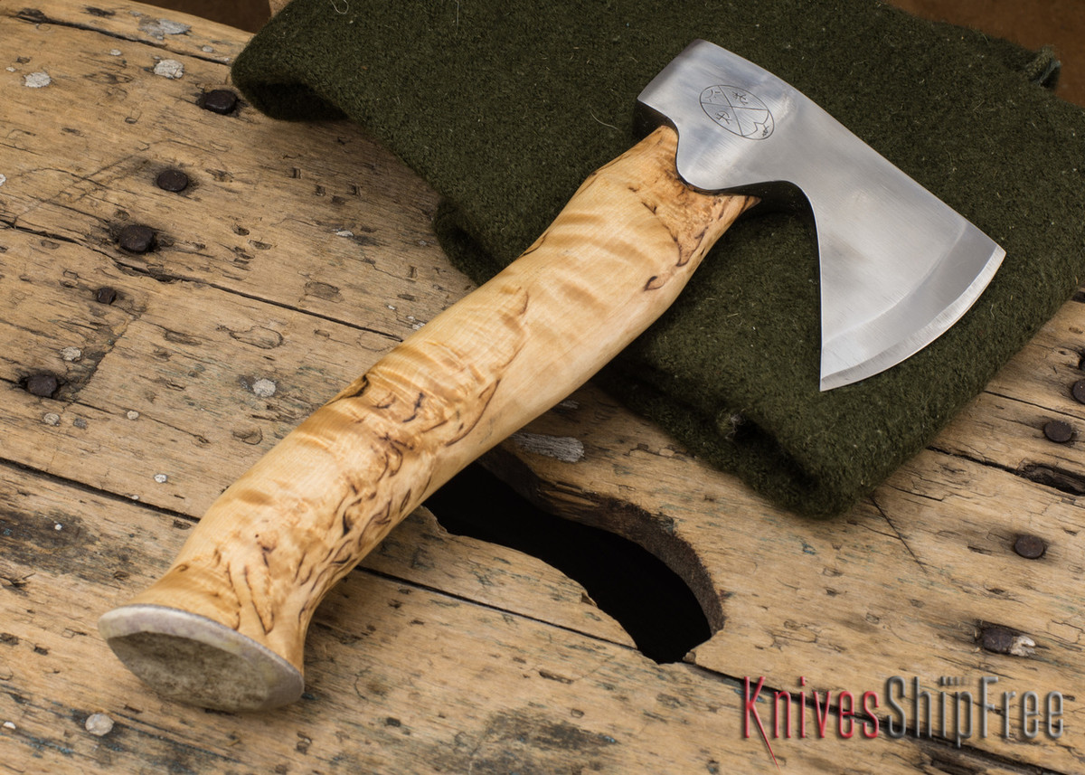 "Karesuando Kniven: ""Unna Aksu"" Hunter's Hatchet - Curly Birch - Stainless Steel - 118"