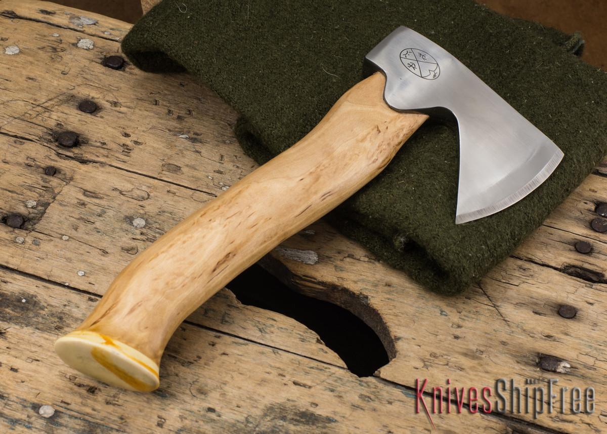 "Karesuando Kniven: ""Unna Aksu"" Hunter's Hatchet - Curly Birch - Stainless Steel - 119 primary image"