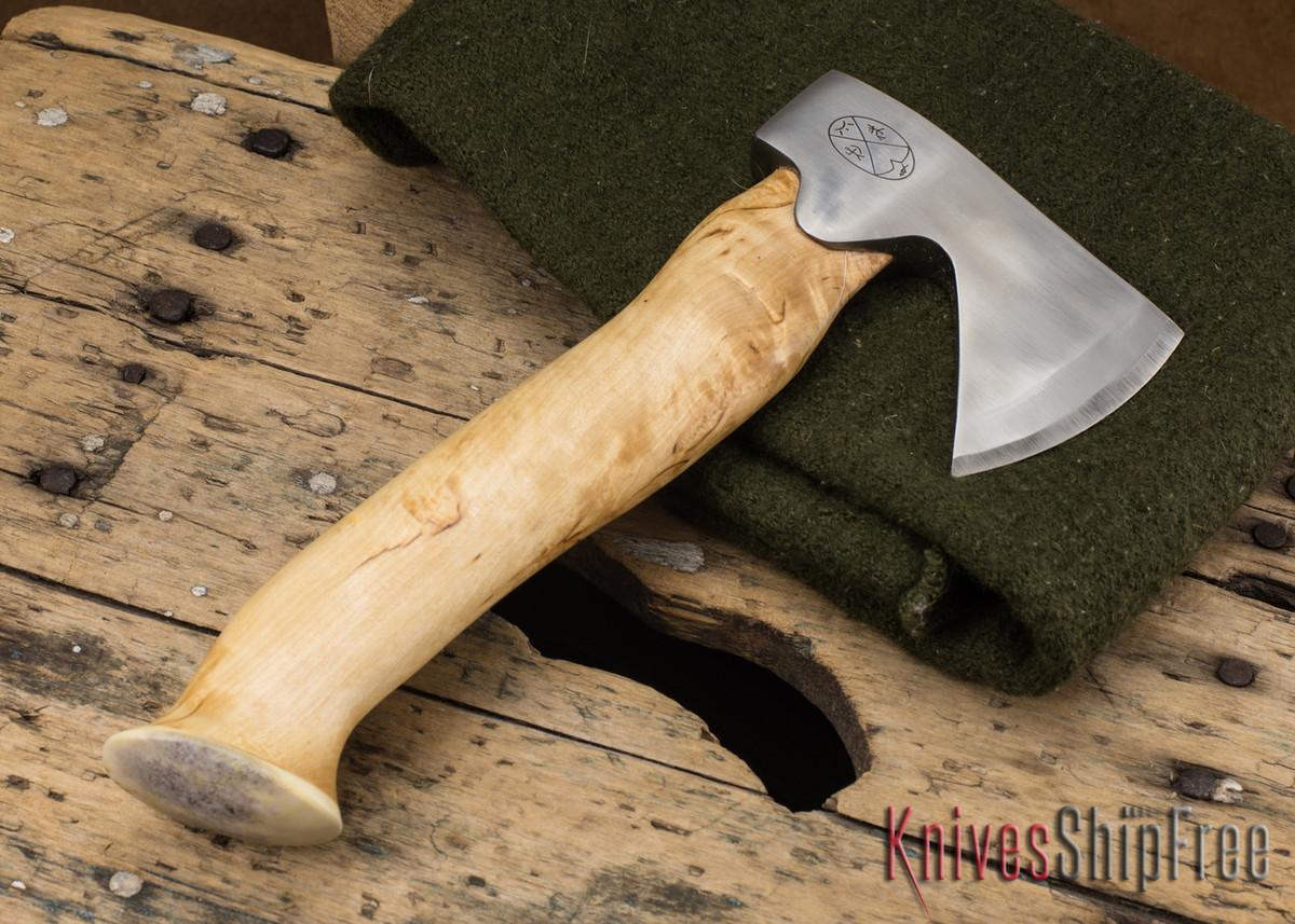 "Karesuando Kniven: ""Unna Aksu"" Hunter's Hatchet - Curly Birch - Stainless Steel - 120 primary image"