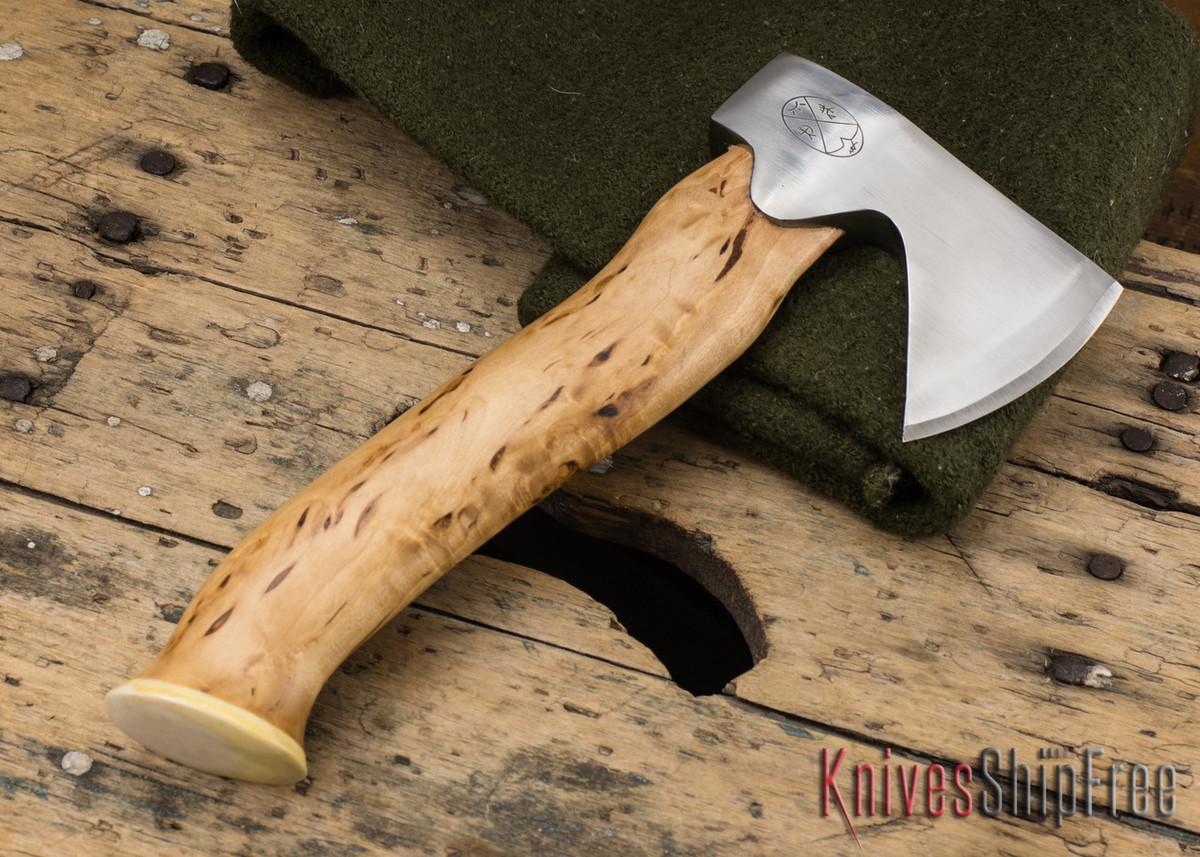 "Karesuando Kniven: ""Unna Aksu"" Hunter's Hatchet - Curly Birch - Stainless Steel - 121 primary image"