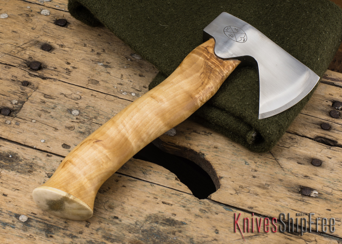 "Karesuando Kniven: ""Unna Aksu"" Hunter's Hatchet - Curly Birch - Stainless Steel - 122 primary image"