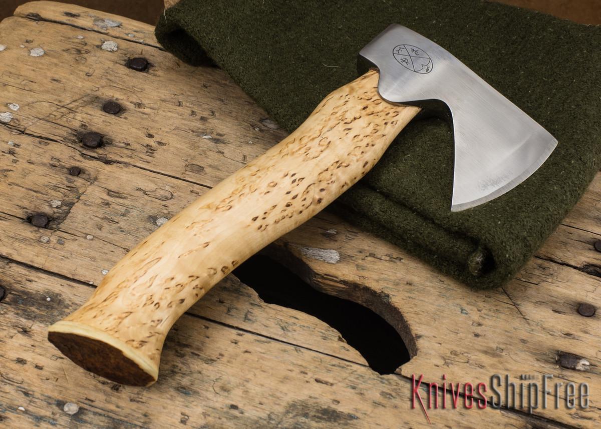 "Karesuando Kniven: ""Unna Aksu"" Hunter's Hatchet - Curly Birch - Stainless Steel - 125 primary image"