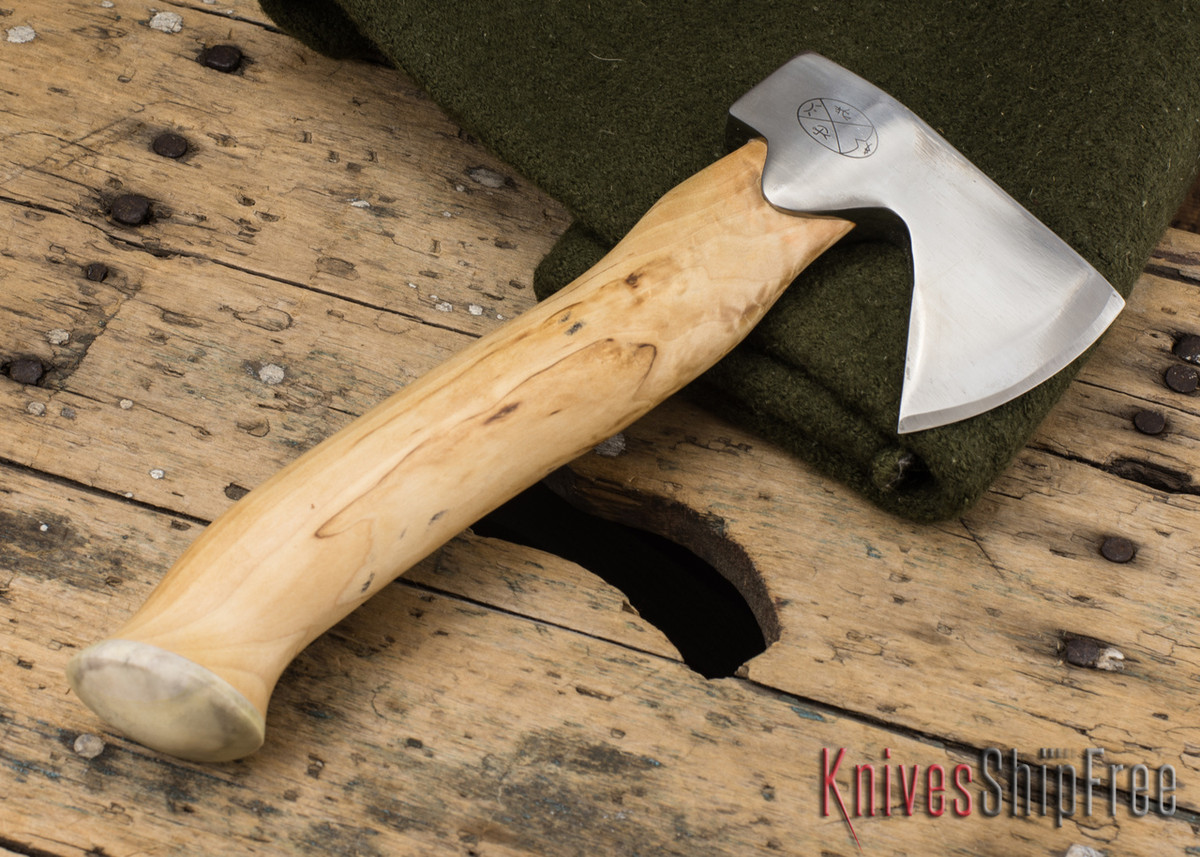"Karesuando Kniven: ""Unna Aksu"" Hunter's Hatchet - Curly Birch - Stainless Steel - 126 primary image"