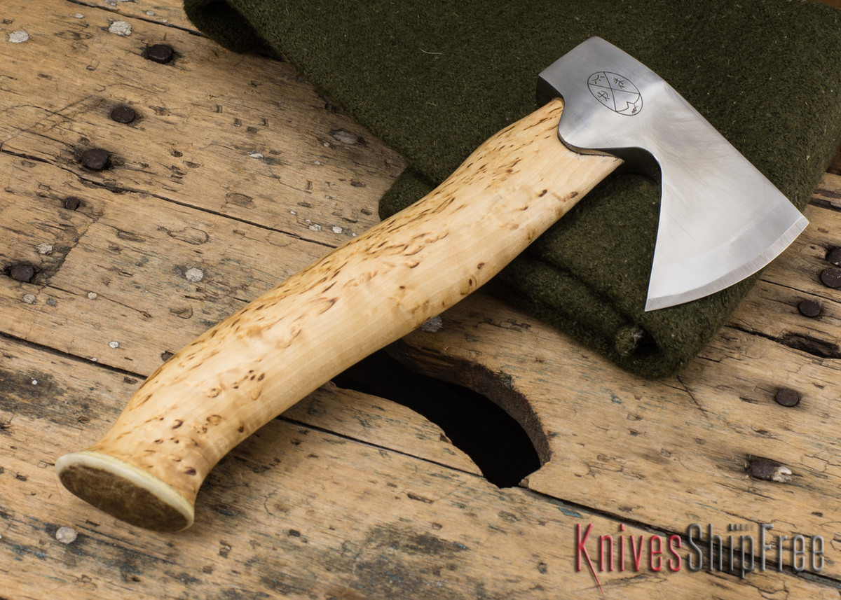 "Karesuando Kniven: ""Unna Aksu"" Hunter's Hatchet - Curly Birch - Stainless Steel - 127 primary image"