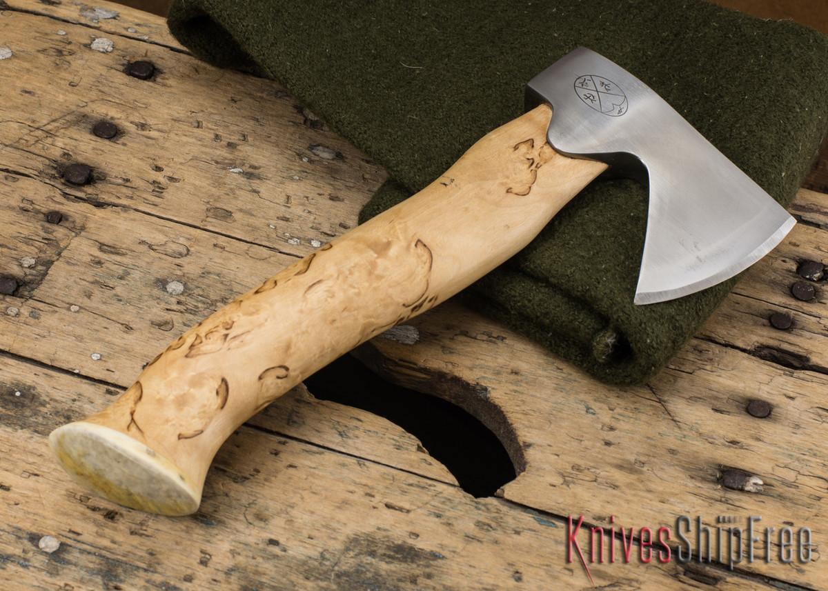 "Karesuando Kniven: ""Unna Aksu"" Hunter's Hatchet - Curly Birch - Stainless Steel - 128 primary image"