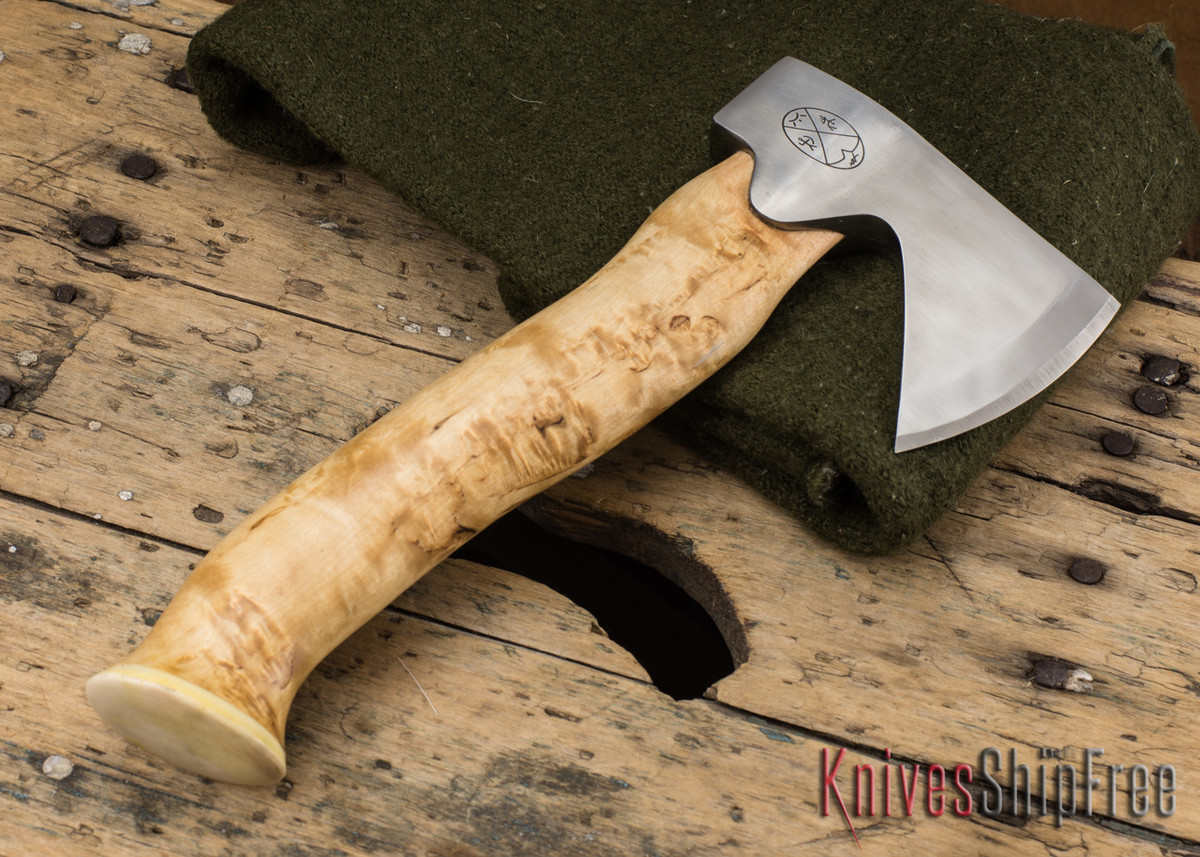 "Karesuando Kniven: ""Unna Aksu"" Hunter's Hatchet - Curly Birch - Stainless Steel - 129 primary image"