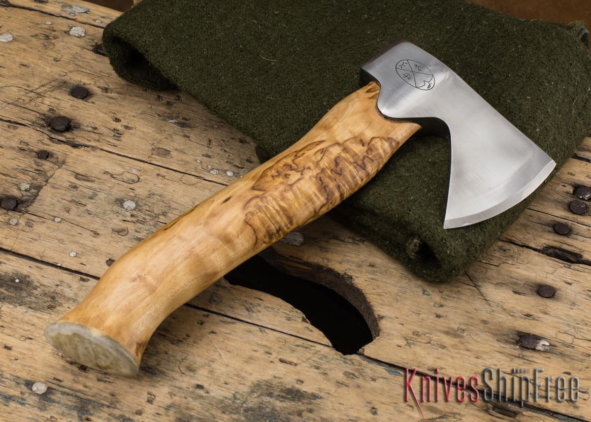 "Karesuando Kniven: ""Unna Aksu"" Hunter's Hatchet - Curly Birch - Stainless Steel - 130 primary image"