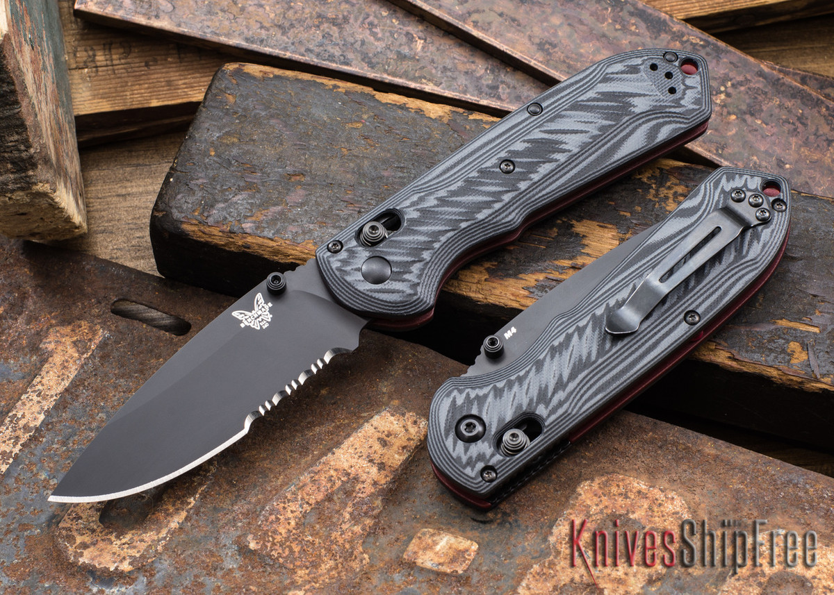 Benchmade Knives: 560SBK-1 Freek - Gray & Black G-10 - Red Liners & Spacers - CPM-M4 - Serrated primary image