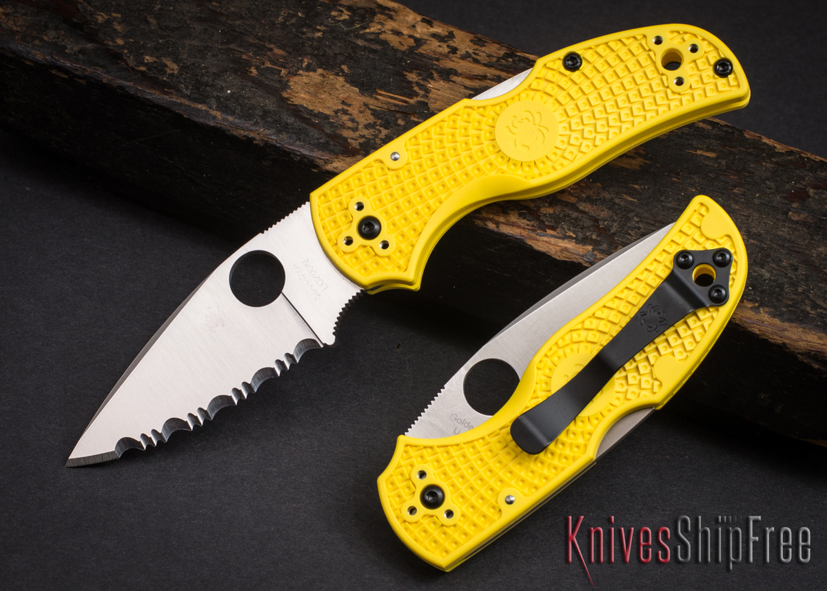 Spyderco: Native 5 Salt - Yellow FRN - LC200N - Serrated - C41SYL5 primary image
