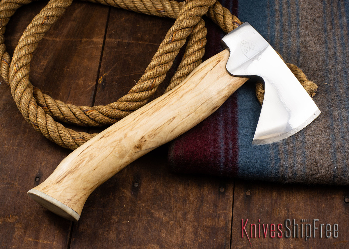 "Karesuando Kniven: ""Unna Aksu"" Hunter's Hatchet - Curly Birch - Stainless Steel - 301 primary image"