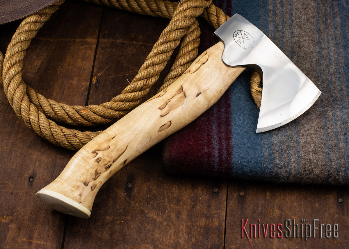 "Karesuando Kniven: ""Unna Aksu"" Hunter's Hatchet - Curly Birch - Stainless Steel - 303 primary image"