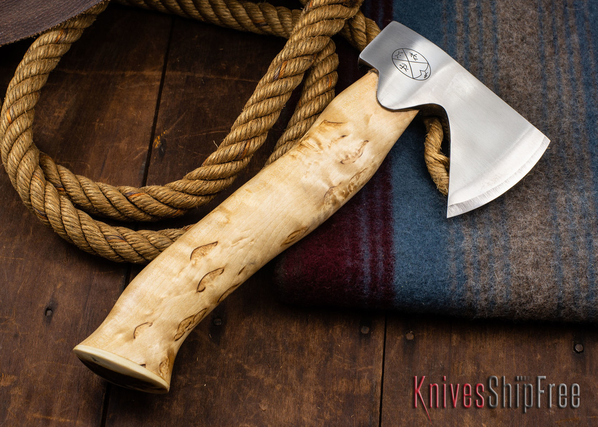"Karesuando Kniven: ""Unna Aksu"" Hunter's Hatchet - Curly Birch - Stainless Steel - 304 primary image"