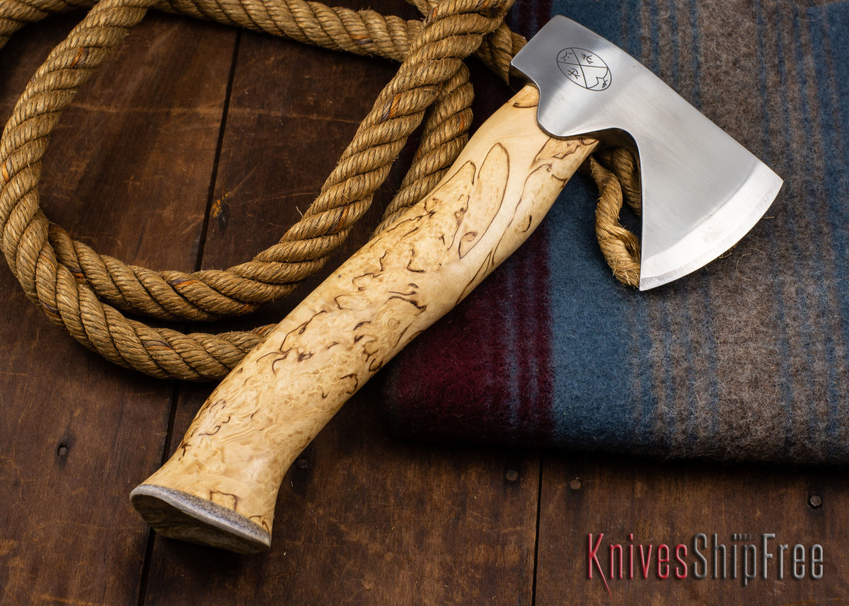 "Karesuando Kniven: ""Unna Aksu"" Hunter's Hatchet - Curly Birch - Stainless Steel - 305 primary image"
