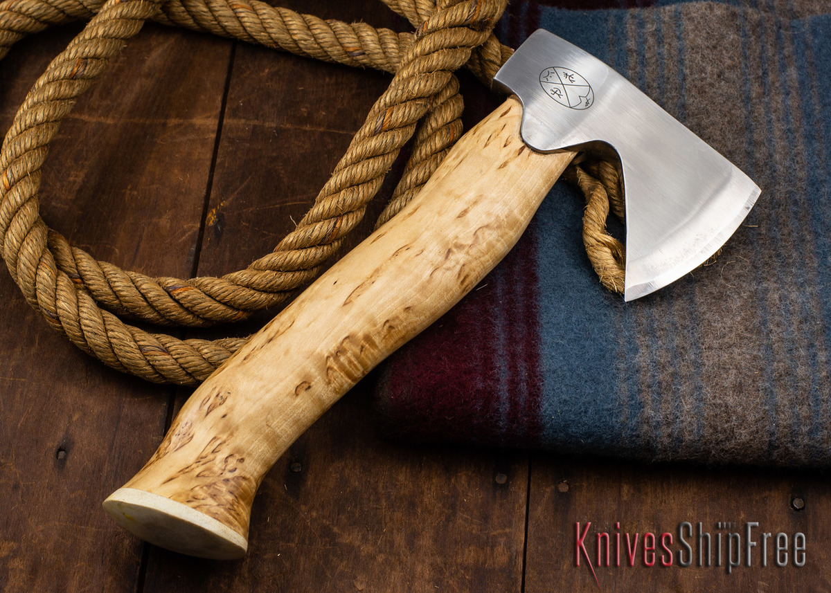 "Karesuando Kniven: ""Unna Aksu"" Hunter's Hatchet - Curly Birch - Stainless Steel - 306"