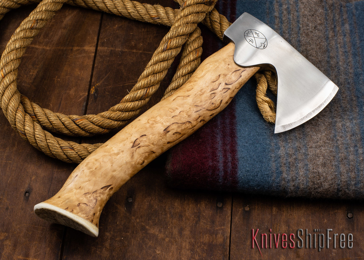 "Karesuando Kniven: ""Unna Aksu"" Hunter's Hatchet - Curly Birch - Stainless Steel - 307 primary image"