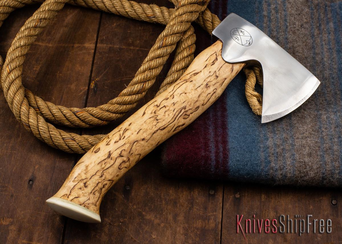 "Karesuando Kniven: ""Unna Aksu"" Hunter's Hatchet - Curly Birch - Stainless Steel - 308 primary image"
