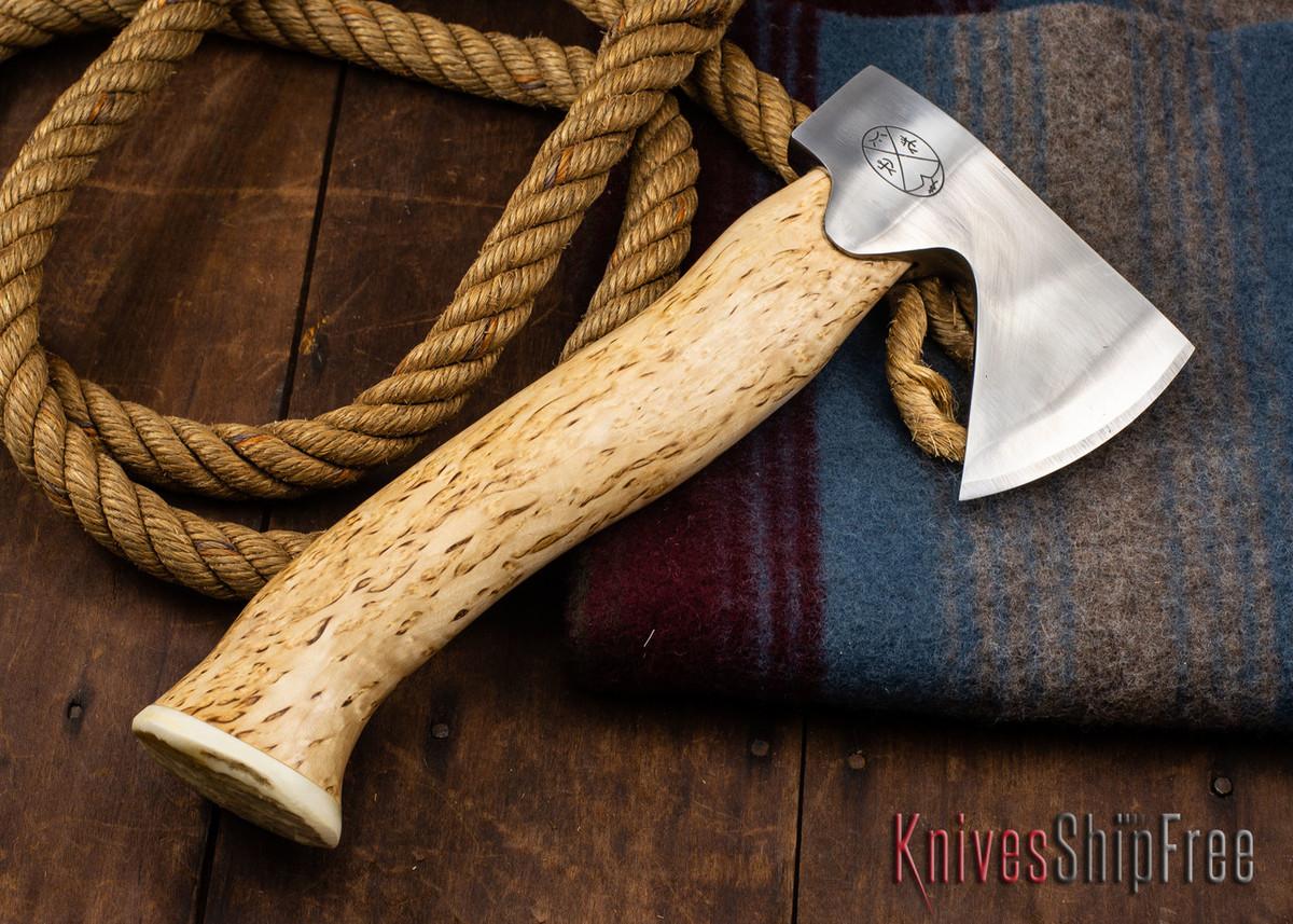 "Karesuando Kniven: ""Unna Aksu"" Hunter's Hatchet - Curly Birch - Stainless Steel - 310 primary image"