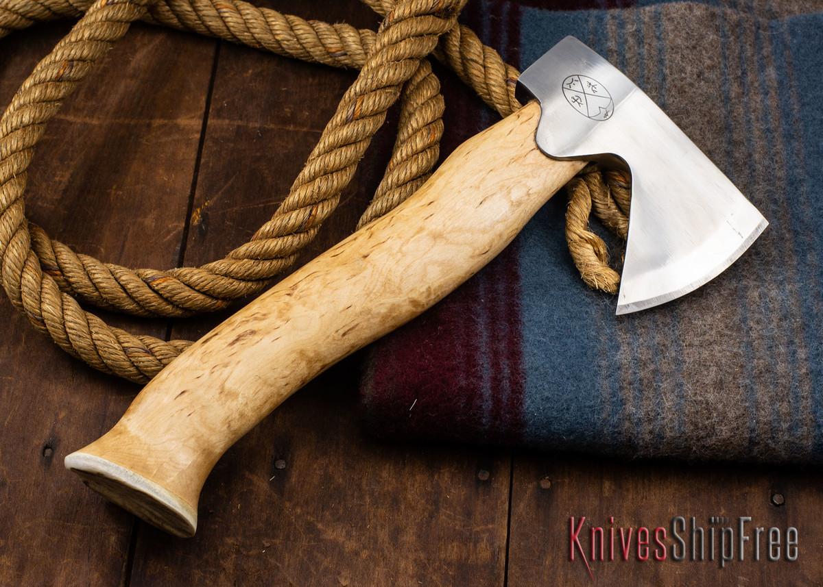 "Karesuando Kniven: ""Unna Aksu"" Hunter's Hatchet - Curly Birch - Stainless Steel - 312 primary image"