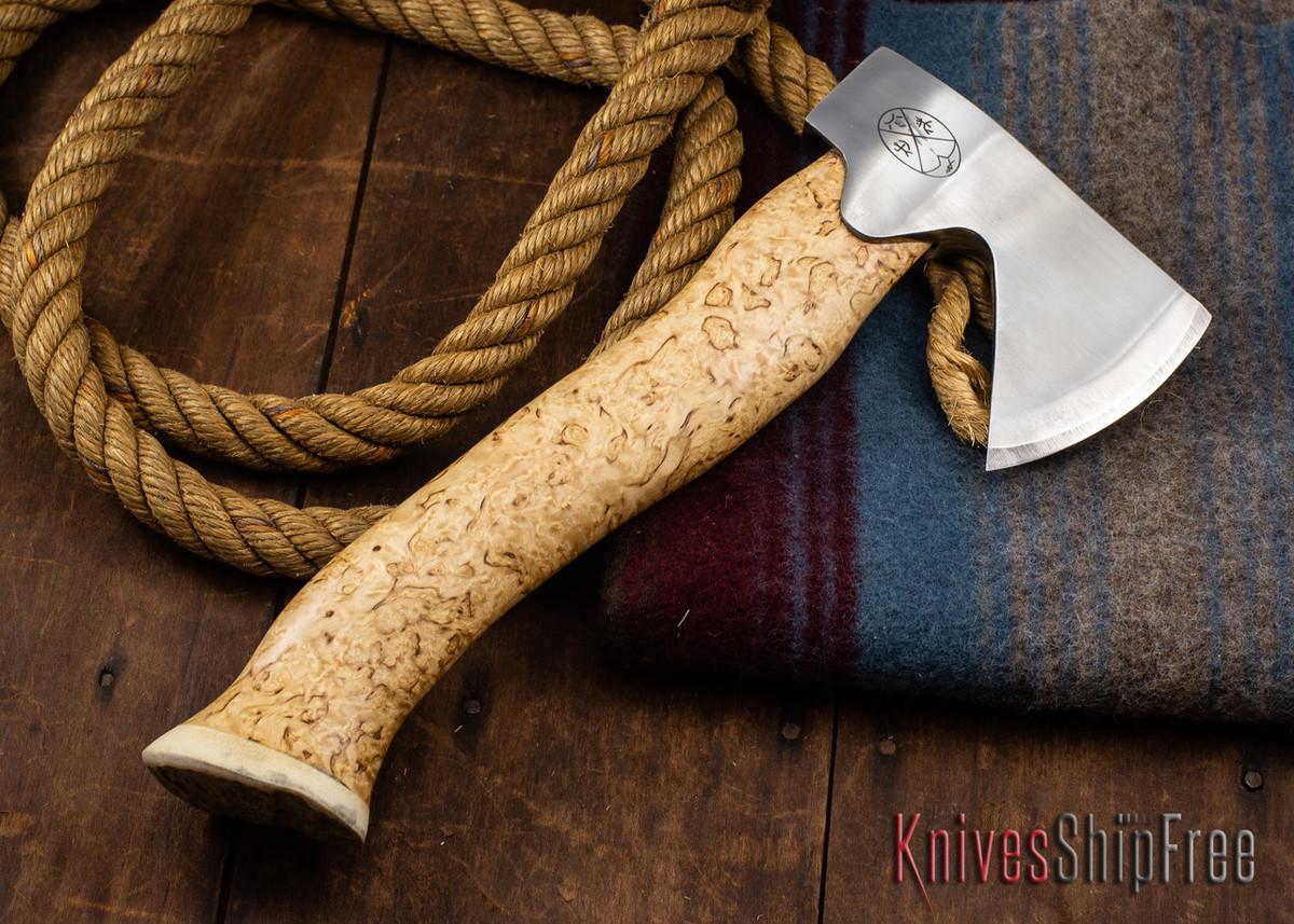 "Karesuando Kniven: ""Unna Aksu"" Hunter's Hatchet - Curly Birch - Stainless Steel - 313 primary image"