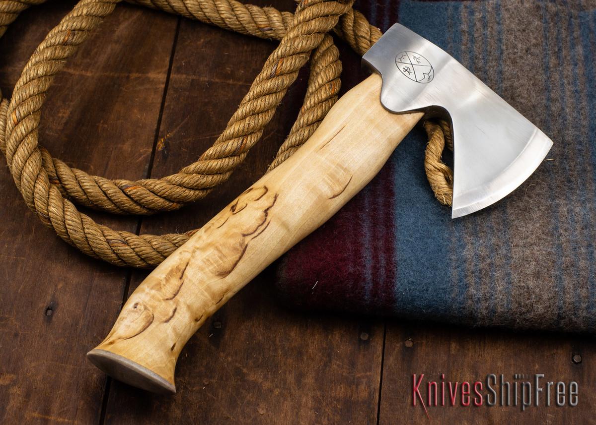 "Karesuando Kniven: ""Unna Aksu"" Hunter's Hatchet - Curly Birch - Stainless Steel - 316 primary image"