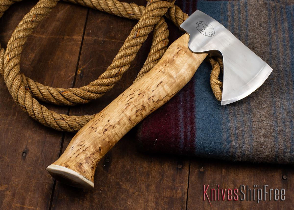 "Karesuando Kniven: ""Unna Aksu"" Hunter's Hatchet - Curly Birch - Stainless Steel - 318 primary image"