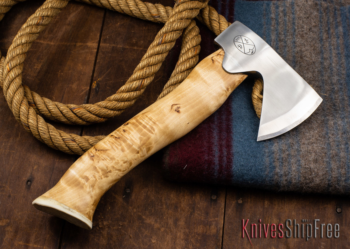 "Karesuando Kniven: ""Unna Aksu"" Hunter's Hatchet - Curly Birch - Stainless Steel - 319 primary image"