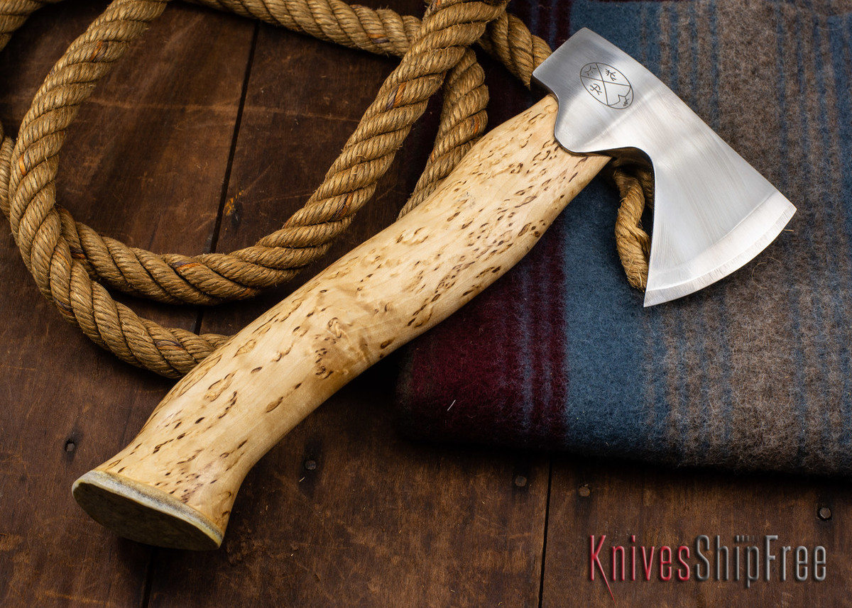 "Karesuando Kniven: ""Unna Aksu"" Hunter's Hatchet - Curly Birch - Stainless Steel - 320 primary image"