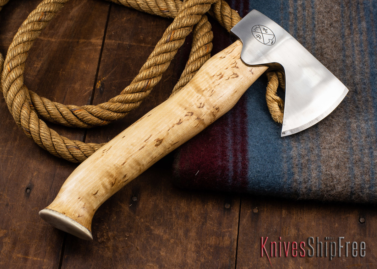 "Karesuando Kniven: ""Unna Aksu"" Hunter's Hatchet - Curly Birch - Stainless Steel - 323 primary image"