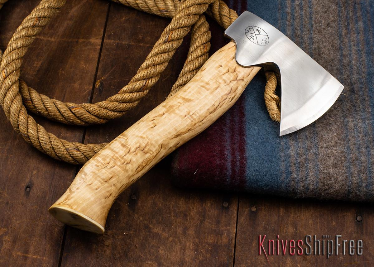 "Karesuando Kniven: ""Unna Aksu"" Hunter's Hatchet - Curly Birch - Stainless Steel - 327 primary image"