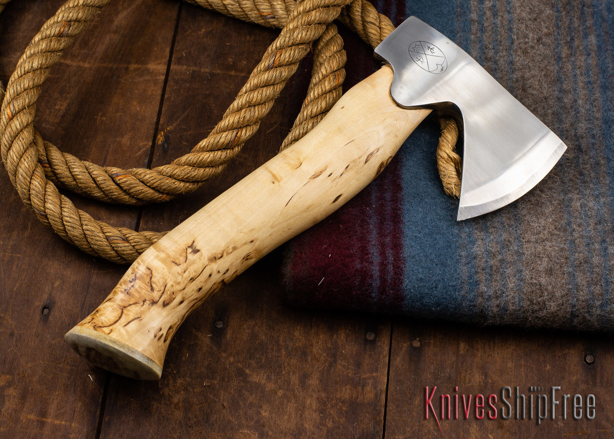 "Karesuando Kniven: ""Unna Aksu"" Hunter's Hatchet - Curly Birch - Stainless Steel - 329 primary image"