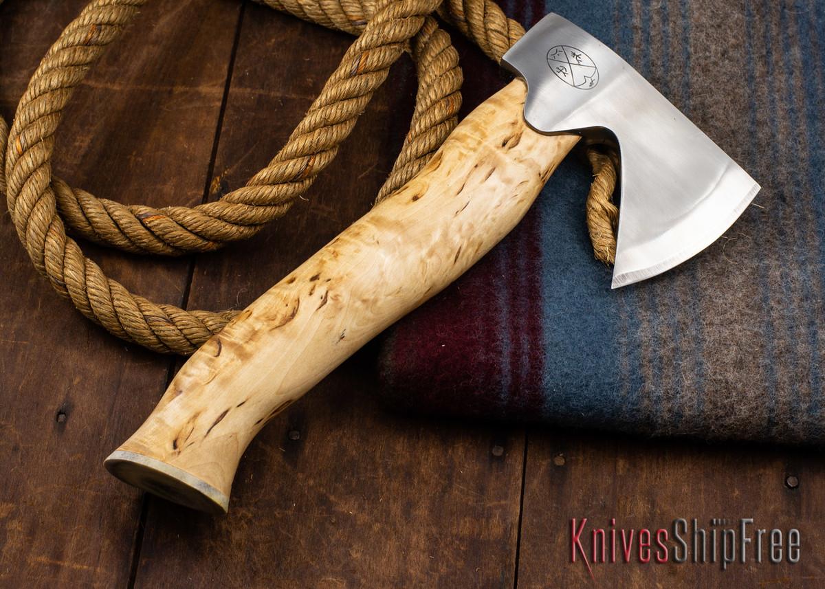 "Karesuando Kniven: ""Unna Aksu"" Hunter's Hatchet - Curly Birch - Stainless Steel - 337 primary image"