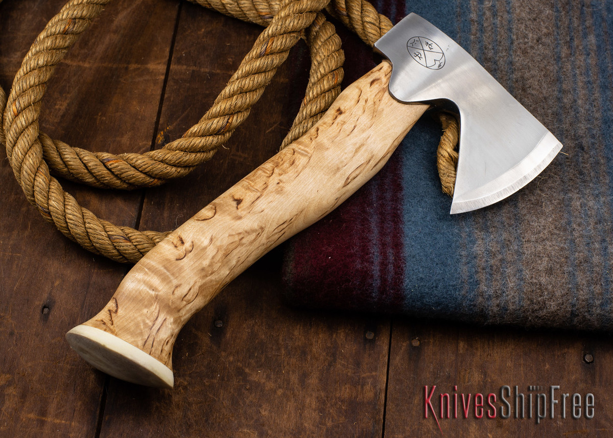 "Karesuando Kniven: ""Unna Aksu"" Hunter's Hatchet - Curly Birch - Stainless Steel - 339 primary image"