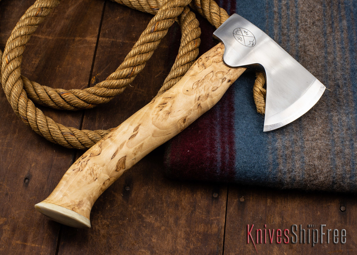 "Karesuando Kniven: ""Unna Aksu"" Hunter's Hatchet - Curly Birch - Stainless Steel - 343 primary image"