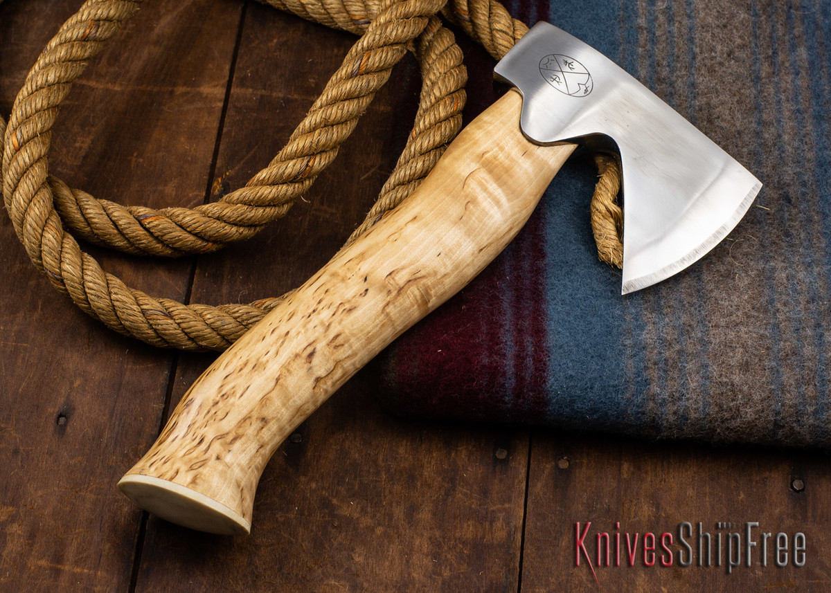 "Karesuando Kniven: ""Unna Aksu"" Hunter's Hatchet - Curly Birch - Stainless Steel - 345"