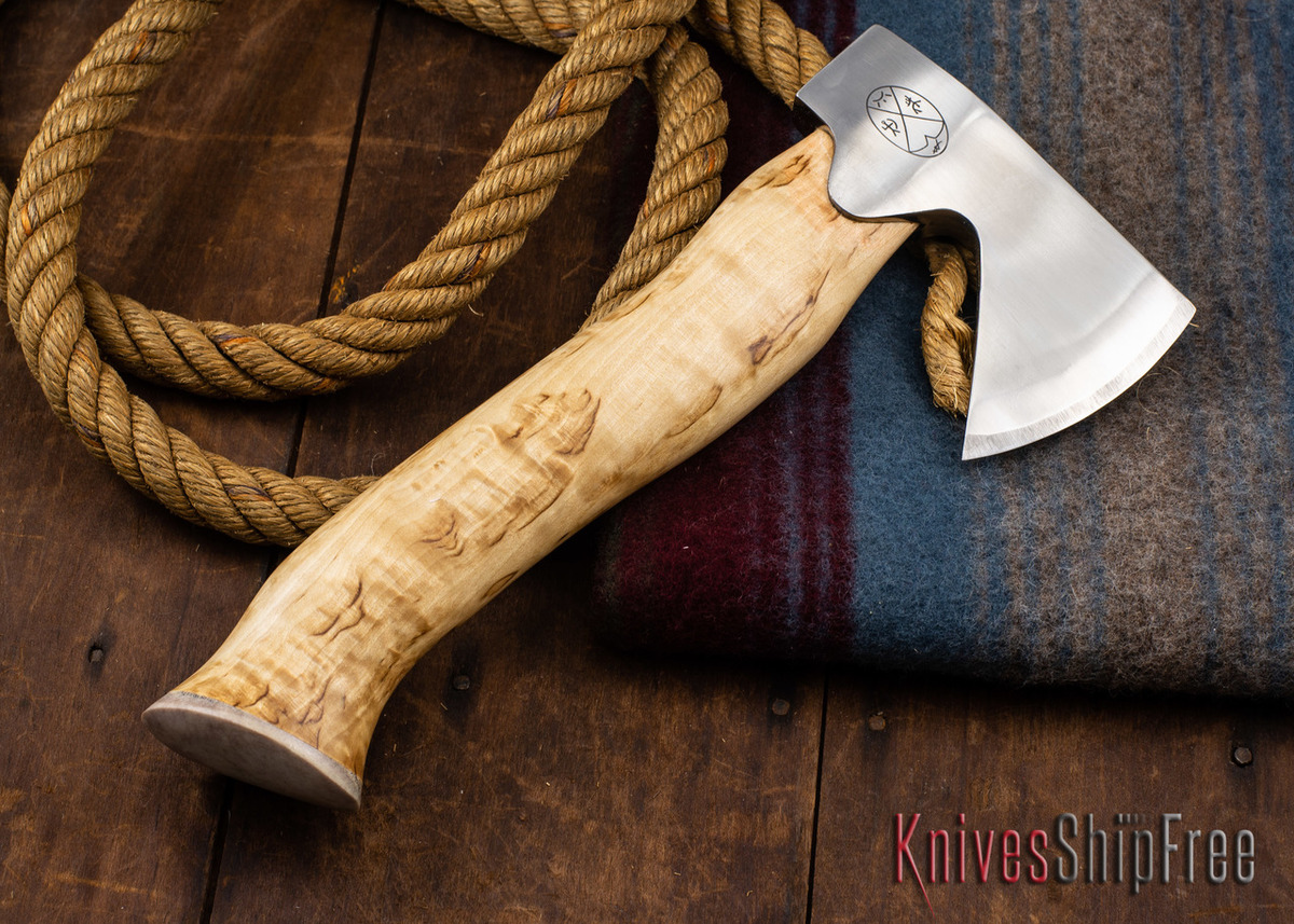 "Karesuando Kniven: ""Unna Aksu"" Hunter's Hatchet - Curly Birch - Stainless Steel - 346 primary image"