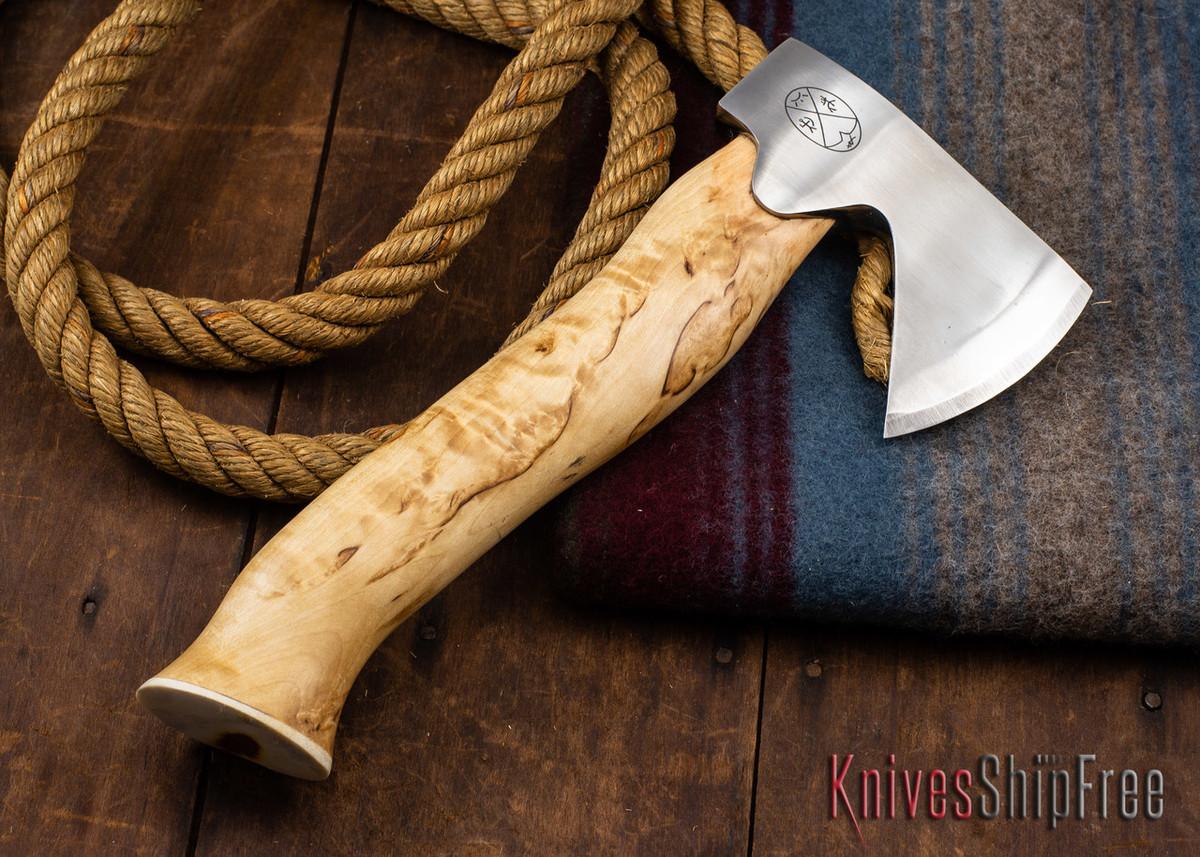 "Karesuando Kniven: ""Unna Aksu"" Hunter's Hatchet - Curly Birch - Stainless Steel - 348 primary image"