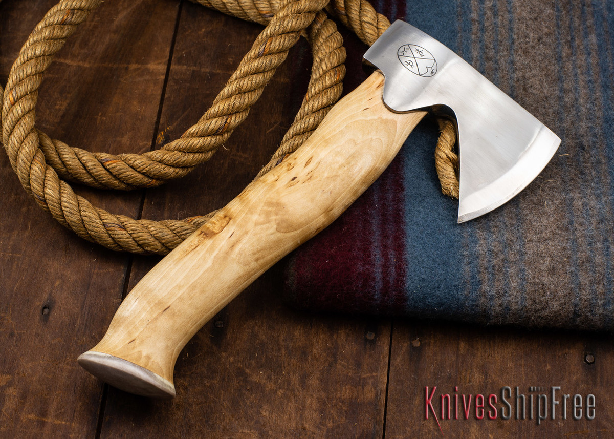 "Karesuando Kniven: ""Unna Aksu"" Hunter's Hatchet - Curly Birch - Stainless Steel - 351 primary image"