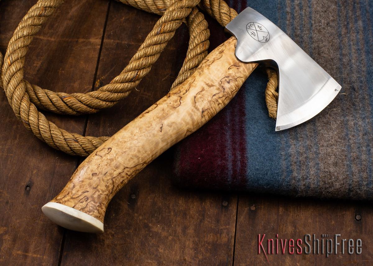 "Karesuando Kniven: ""Unna Aksu"" Hunter's Hatchet - Curly Birch - Stainless Steel - 352 primary image"