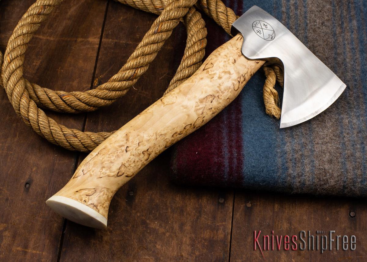 "Karesuando Kniven: ""Unna Aksu"" Hunter's Hatchet - Curly Birch - Stainless Steel - 354 primary image"
