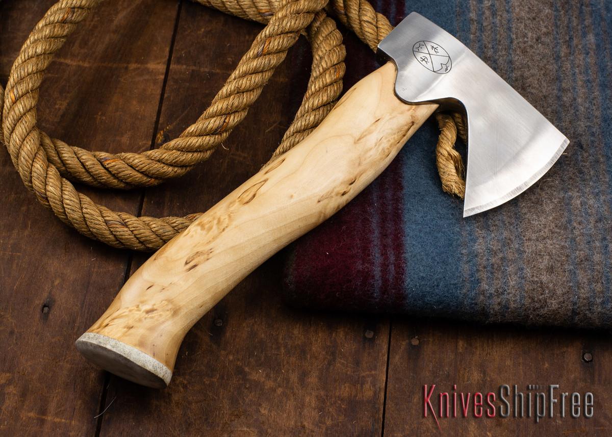 "Karesuando Kniven: ""Unna Aksu"" Hunter's Hatchet - Curly Birch - Stainless Steel - 356 primary image"