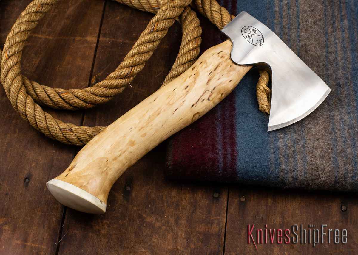 "Karesuando Kniven: ""Unna Aksu"" Hunter's Hatchet - Curly Birch - Stainless Steel - 358"