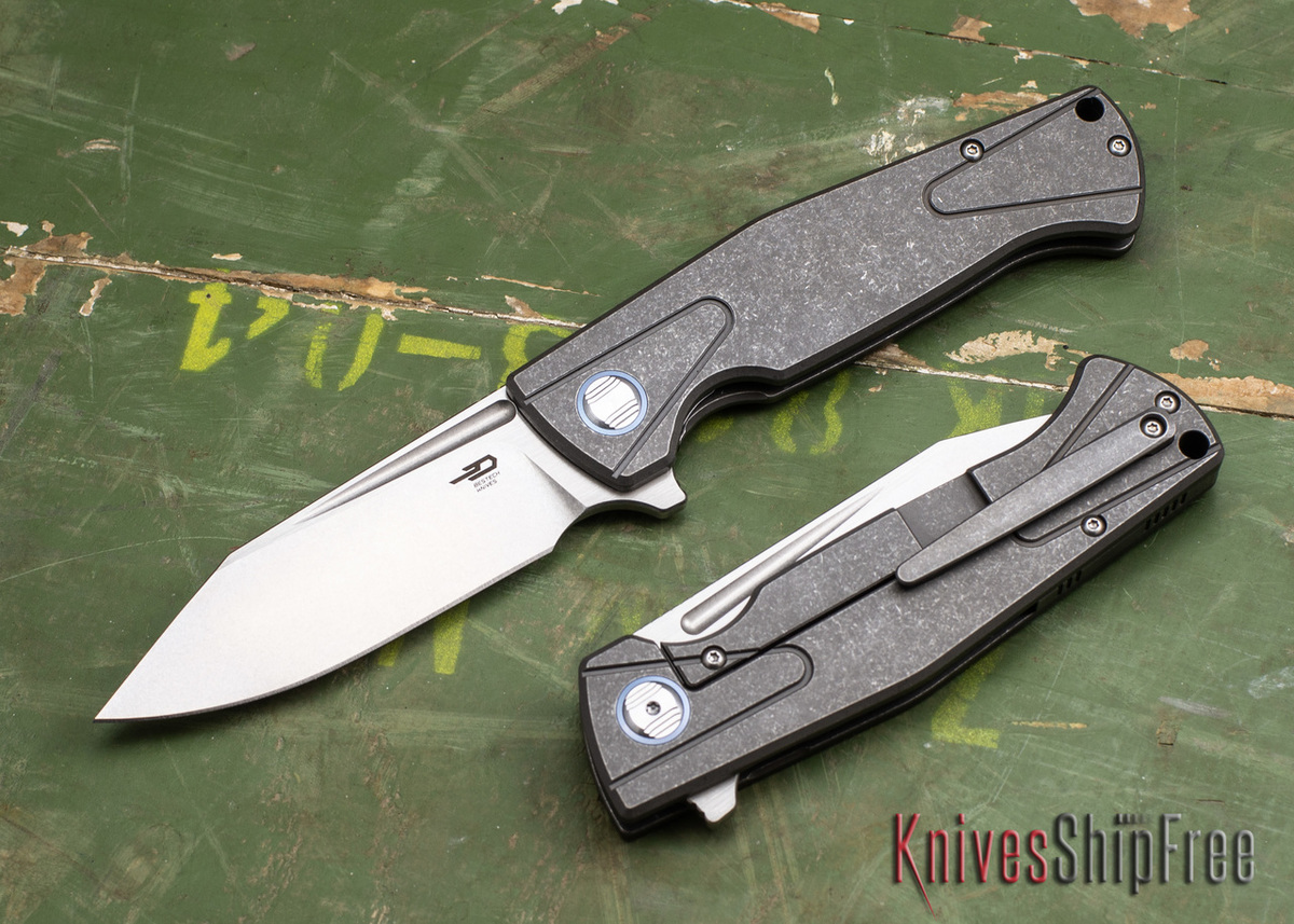 Bestech Knives: Horus - Gray Titanium Framelock - CPM-S35Vn Stonewashed Blade primary image