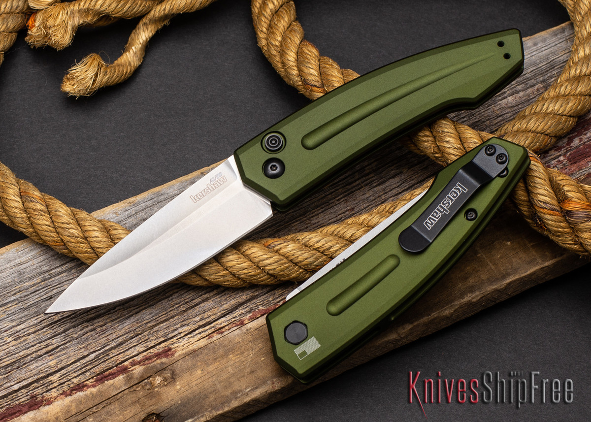 Kershaw Knives: Launch 2 - Olive Green Aluminum - CPM-154 - Stonewash - 7200SWOL primary image