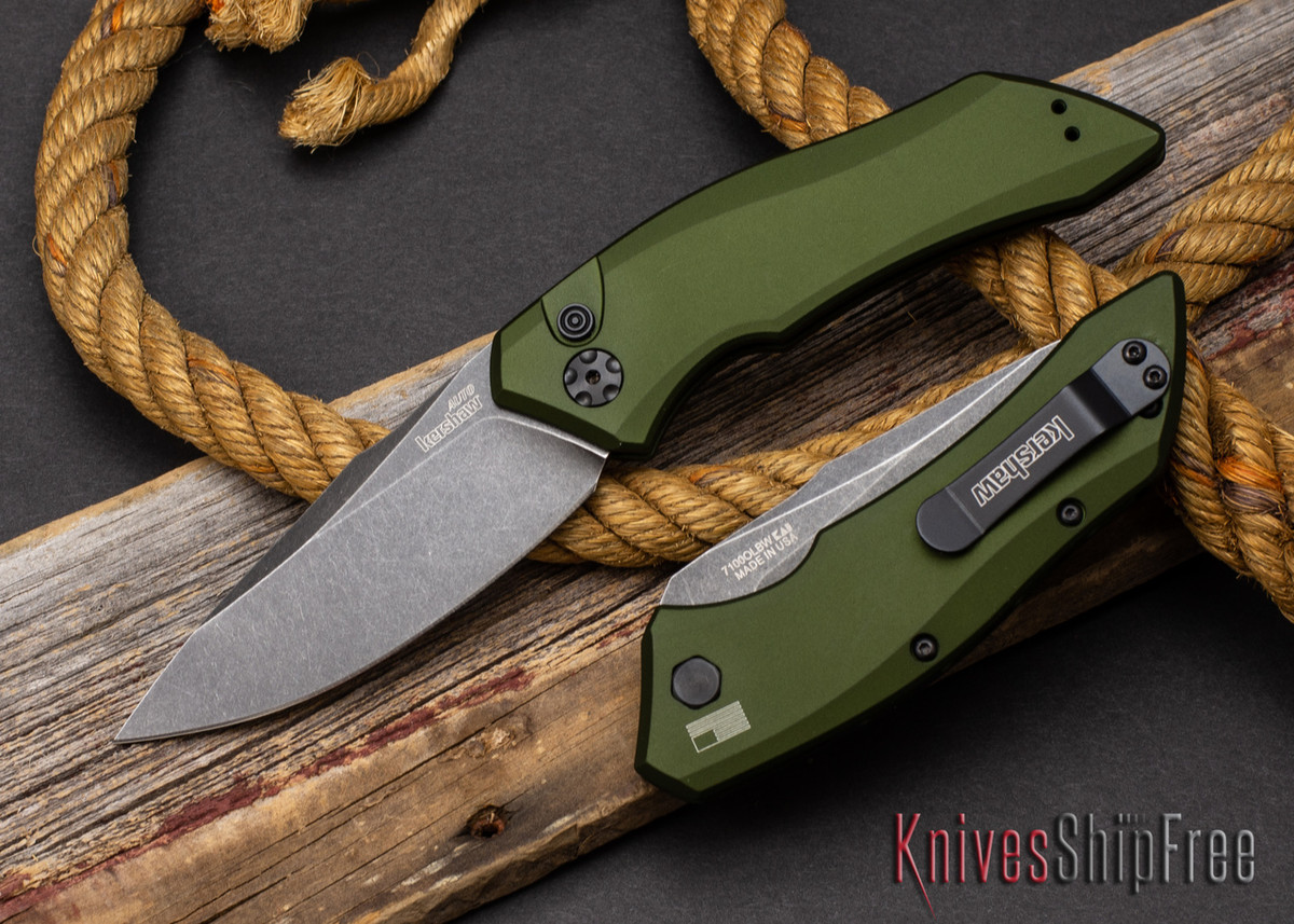 Kershaw Knives: Launch 1 - OD Green Aluminum - CPM-154 - Blackwash - 7100OLBW primary image