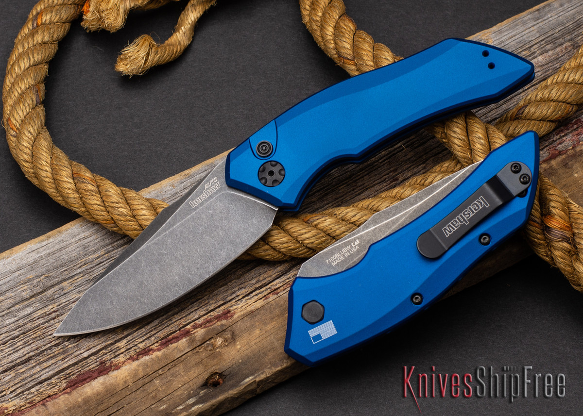 Kershaw Knives: Launch 1 - Blue Aluminum - CPM-154 - Blackwash - 7100BLUBW primary image