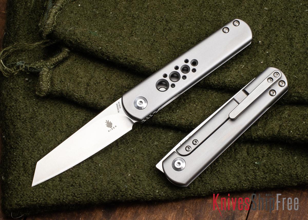 Kizer Cutlery: Feist Wharncliffe - Lundquist Front Flipper - Titanium Framelock - CPM-S35Vn primary image