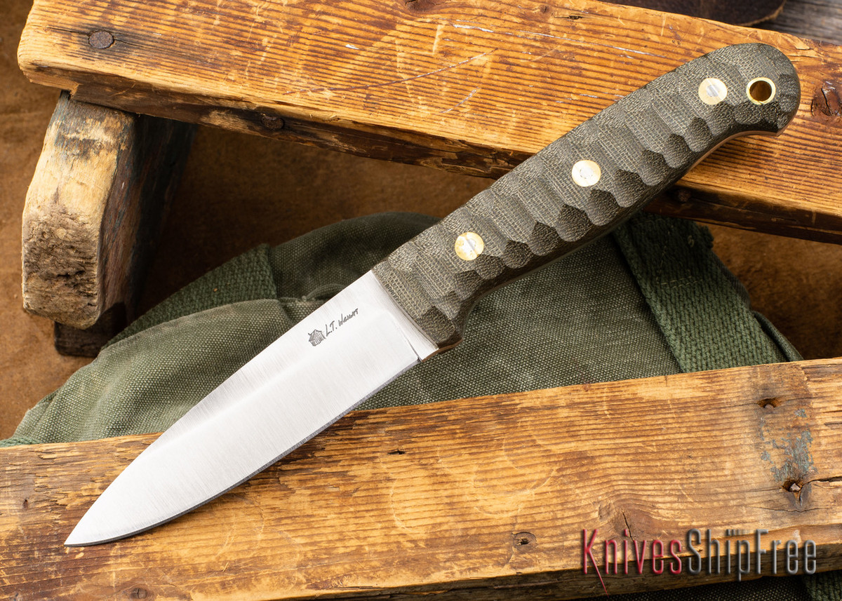 L.T. Wright Knives: GNS 3V - Saber Grind - Green Canvas Mountain Micarta primary image